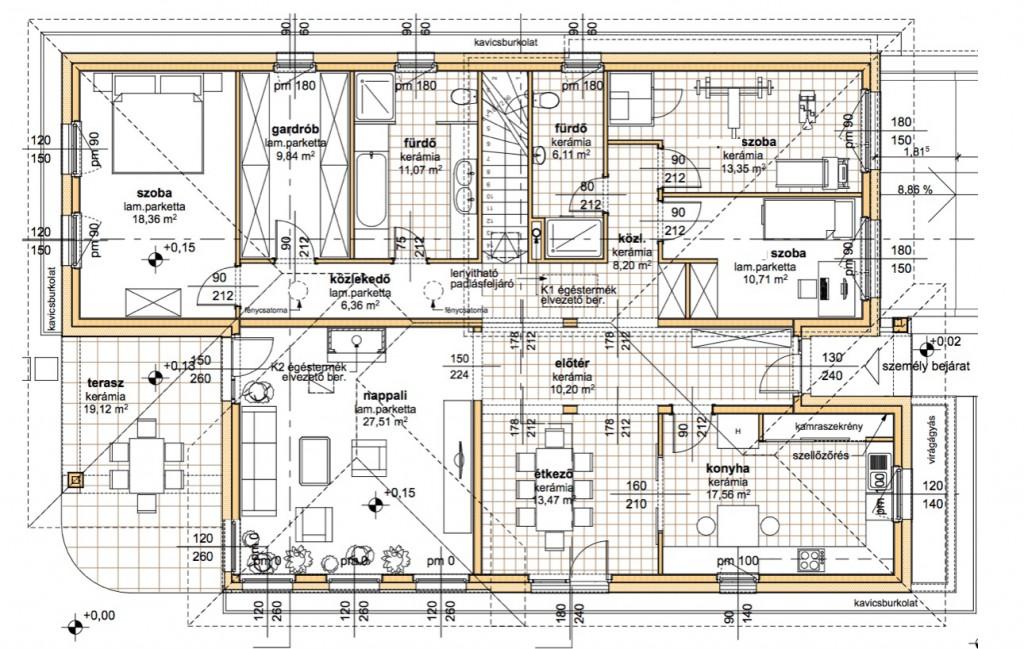 Göd 190 m2 típusterv alaprajz